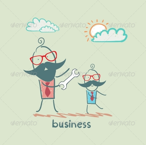 GraphicRiver Businessman Showing a Wrench 5617843