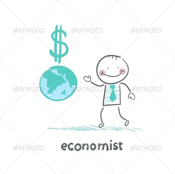 GraphicRiver Economist is Close to the Planet and the Dollar Sign 5618508