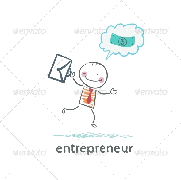 GraphicRiver Entrepreneur Running with a Briefcase 5618719