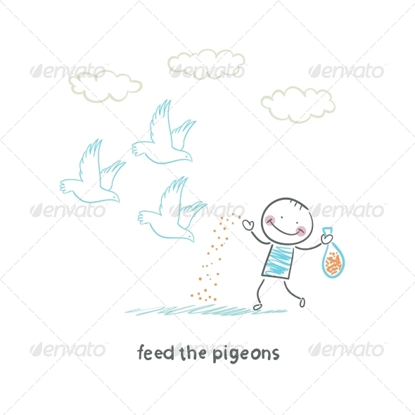GraphicRiver Man Feeds Pigeons 5618798