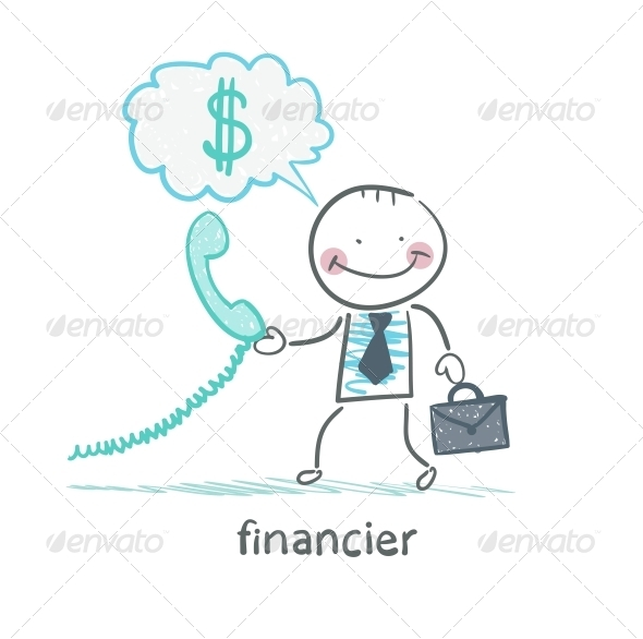 GraphicRiver Financier Talking on the Phone About Money 5618805