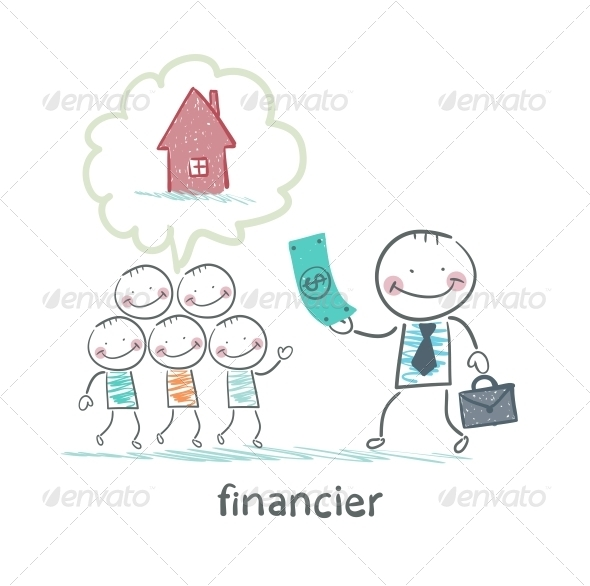 GraphicRiver Financier Gives Money to People to Build a House 5618807