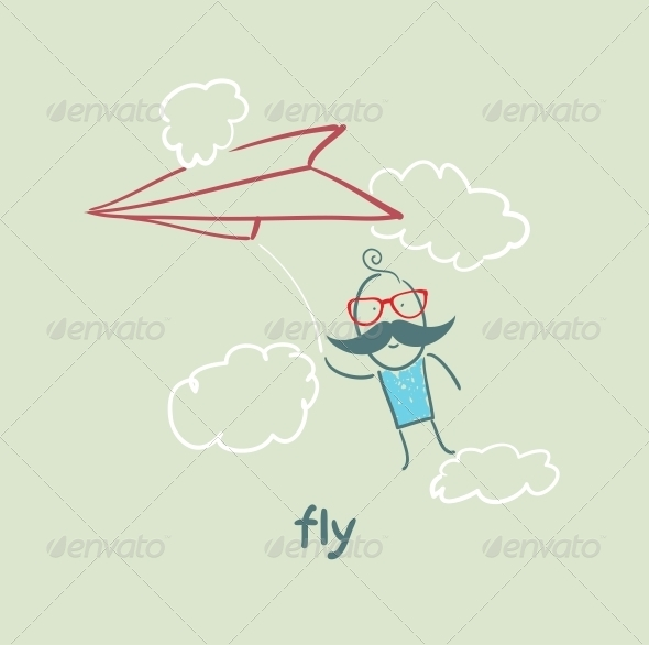 GraphicRiver Flying Paper Airplane 5618879