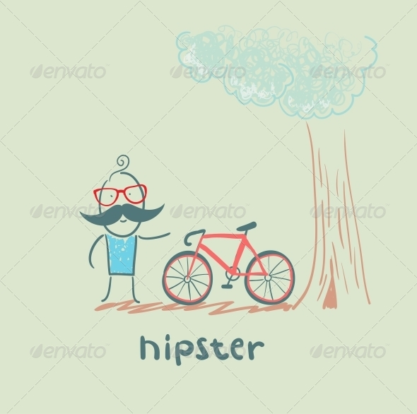 GraphicRiver Hipster with Bike 5619166