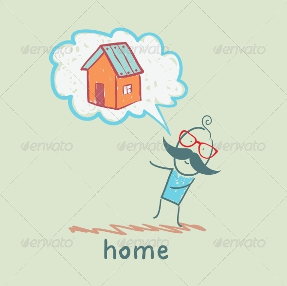 GraphicRiver Person Thinks of House 5619229