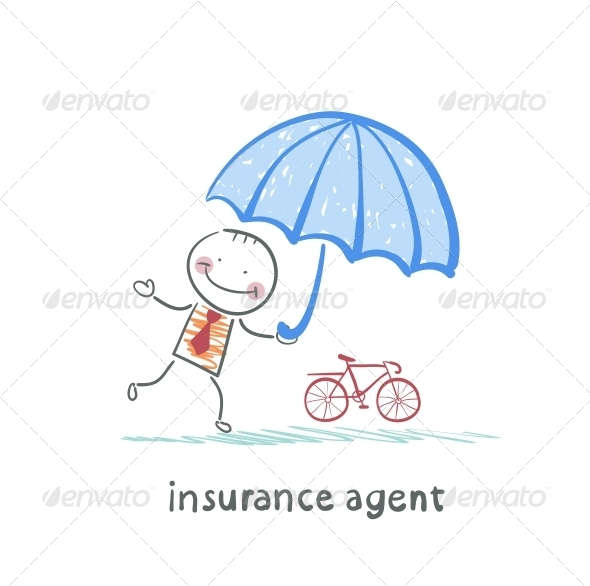 GraphicRiver Insurance Agent Protects Bike Umbrella 5619553