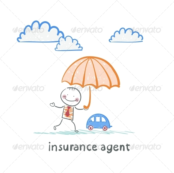 GraphicRiver Insurance Agent is Holding an Umbrella 5619554