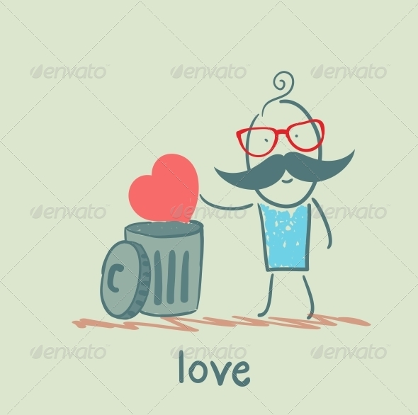 GraphicRiver Man Throws the Heart into the Bin 5619706