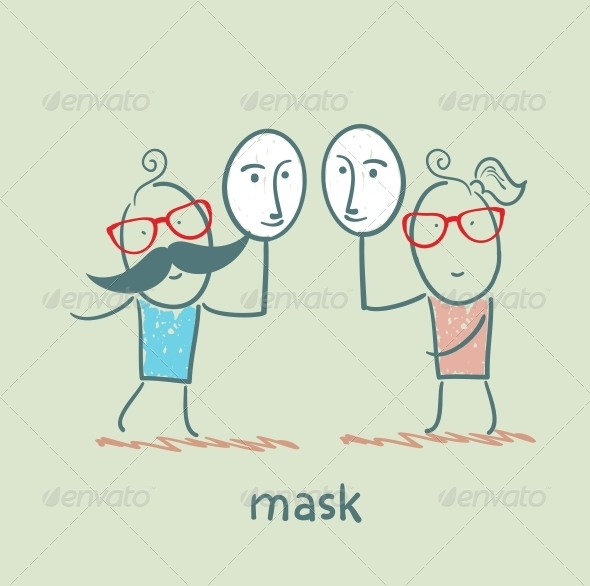 GraphicRiver Girl and Boy Holding a Mask 5619837