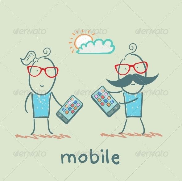 GraphicRiver Girl and Boy with Mobile Phones 5619854