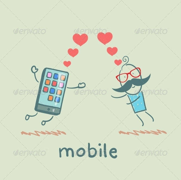 GraphicRiver A Man in Love with Mobile 5619898