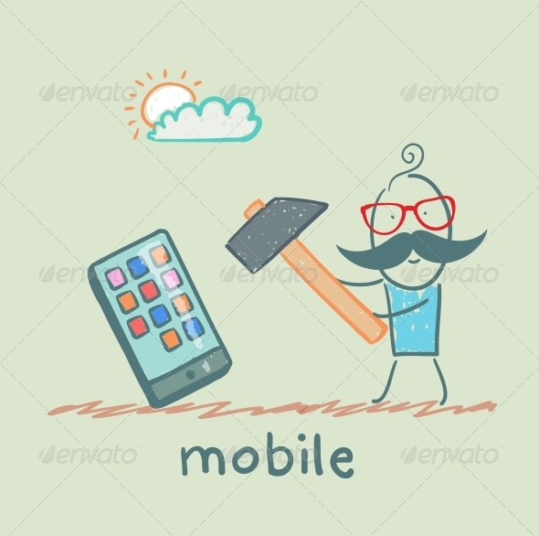 GraphicRiver Man Hammers on Mobile 5619907
