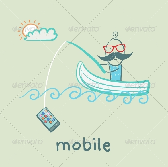 GraphicRiver Man Fishing for Mobile in a Boat 5619910