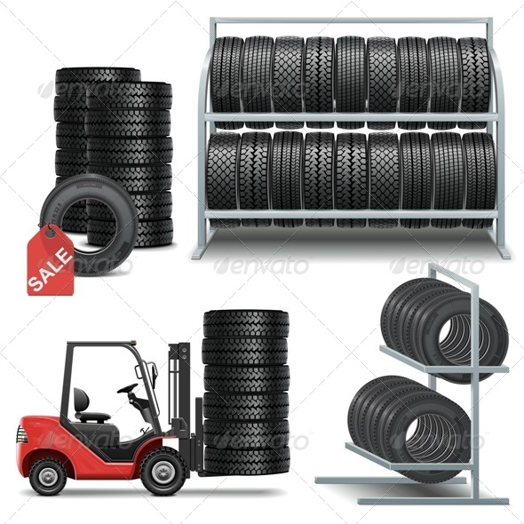 GraphicRiver Vector Tire Shop Icons 5622104