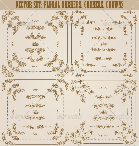 GraphicRiver Vector Set of Gold Decorative Borders 5622627