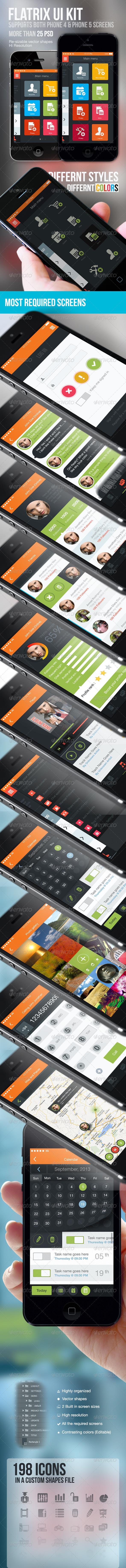 GraphicRiver Flatrix Flat Ui Kit For Mobile 5615244