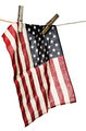 american flag on a clothesline with wooden clothespins - PhotoDune Item for Sale