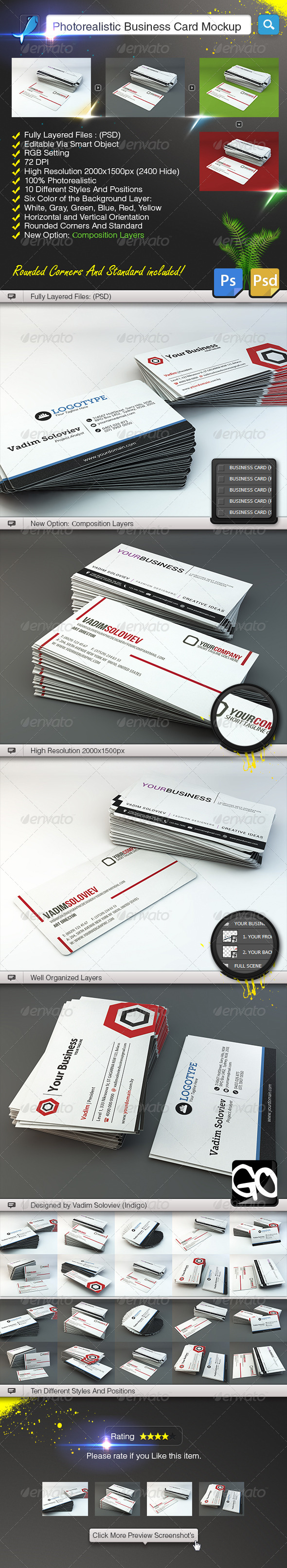Photorealistic Business Card Mockup - Business Cards Print