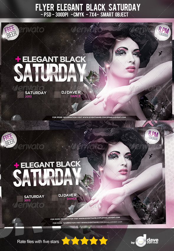 Flyer Elegant Black Saturday - Clubs & Parties Events