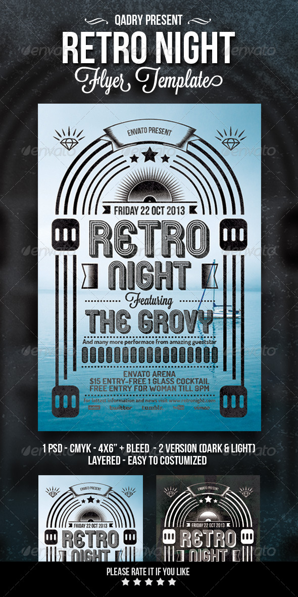 GraphicRiver Retro Night Flyer Template 5624899