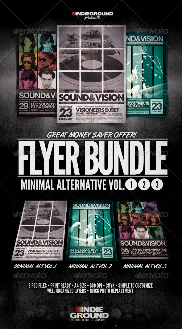 Minimal Alternative Flyer/Poster Bundle Vol. 1-3 - Clubs & Parties Events