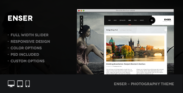 ThemeForest Enser Photography Retina WordPress Theme 5586817