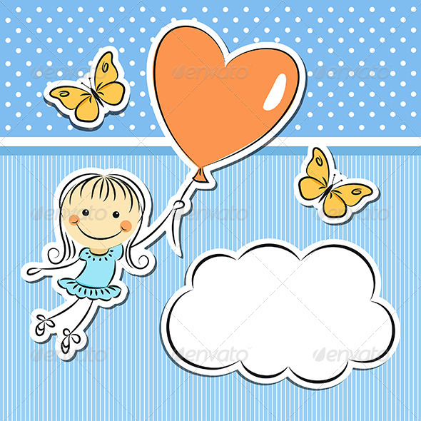 GraphicRiver Happy Girl with Heart Balloon 5625694