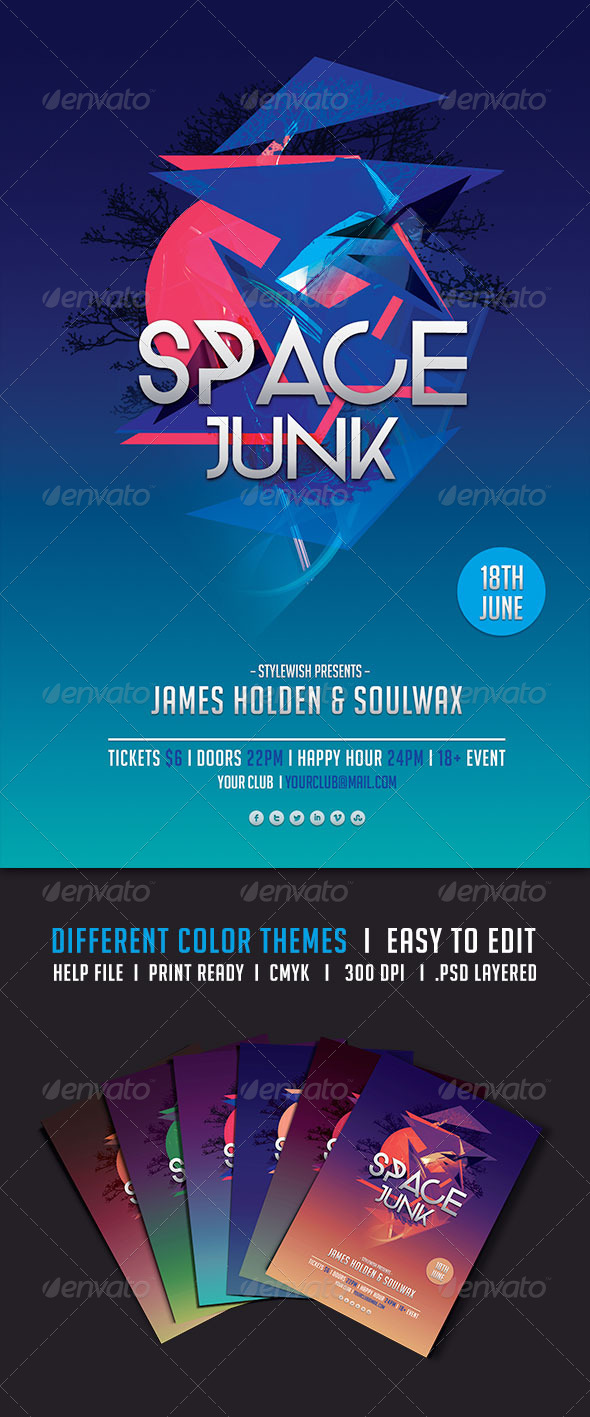 Space Junk Flyer - Clubs & Parties Events