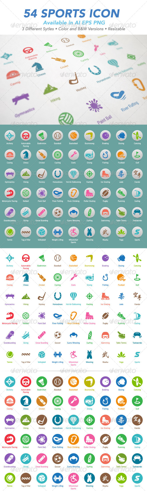 GraphicRiver 54 Sports Icon Set 5541236