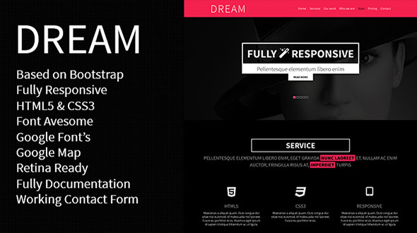 DREAM - One Page Parallax Responsive Template - Portfolio Creative