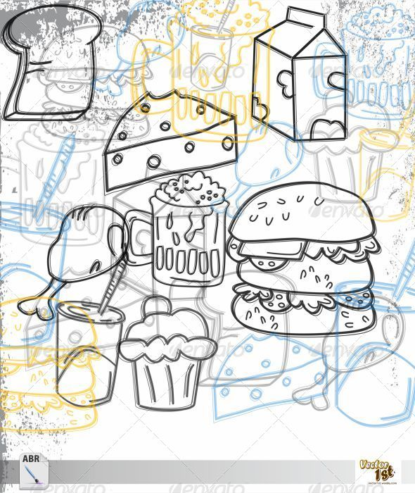 GraphicRiver Food & Drink Outline Art Brush 5629225