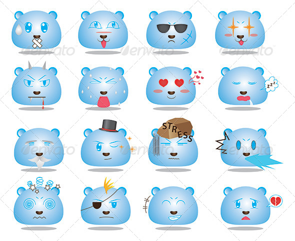 GraphicRiver Anime Style Face Emoticon Set 2 5630302