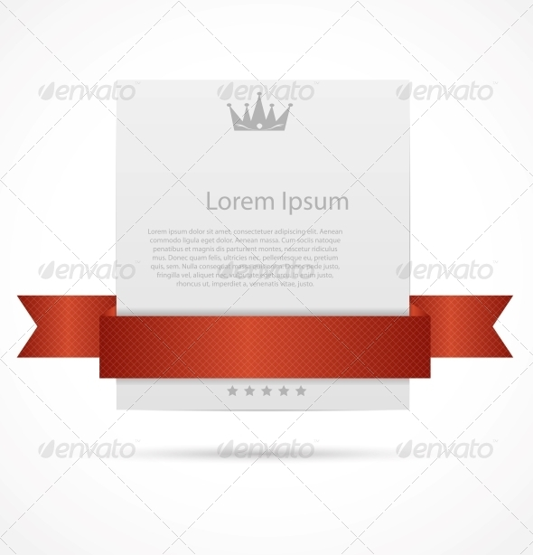 GraphicRiver White Card with Ribbon Vector Illustration 5632112