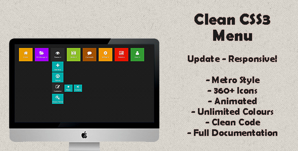 CodeCanyon Clean Metro Menu 5627059