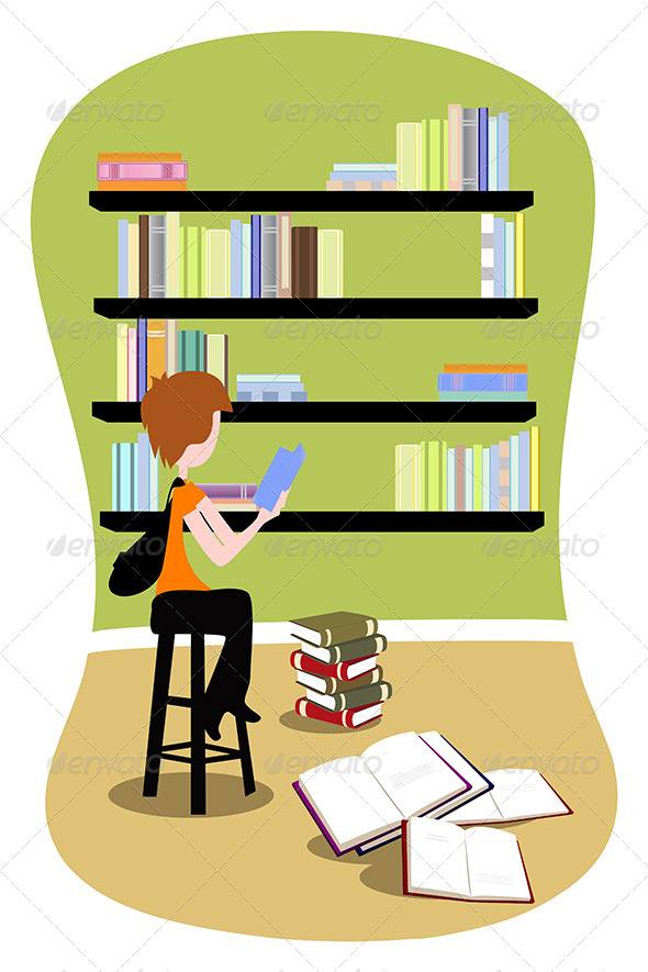 GraphicRiver Student in Library 5633713