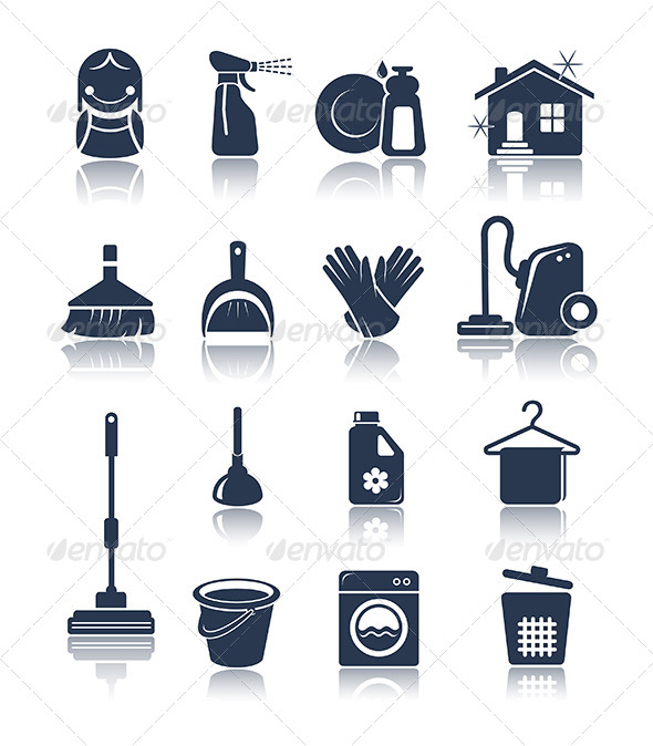 GraphicRiver Cleaning blue icons 5633765