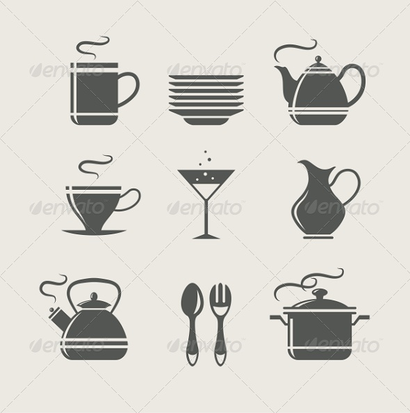 GraphicRiver Kitchen Tableware Set of Icons 5634865