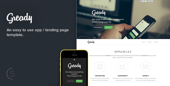 ThemeForest Gready An Easy To Use App and Landing Page 5635424