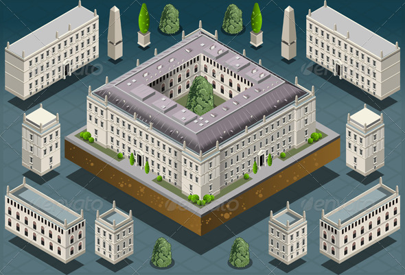 GraphicRiver Isometric European Historic Building 5636324