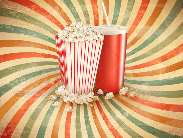 GraphicRiver Retro Background with Popcorn and Drink 5638072
