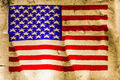 USA flag painted on old brown paper - PhotoDune Item for Sale