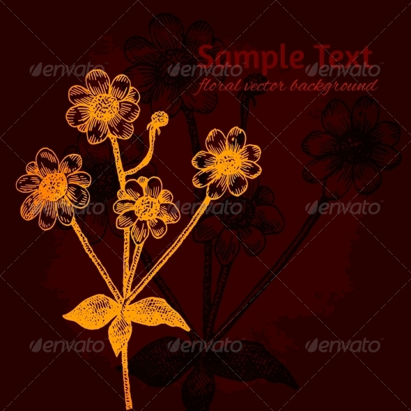 GraphicRiver Bright Colorful Vector Card with Chamomile 5638416