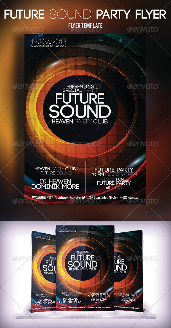 GraphicRiver Future Sound Party Flyer 5640587
