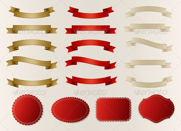GraphicRiver Set of Retro Ribbons Labels Stickers and Tags 5640747