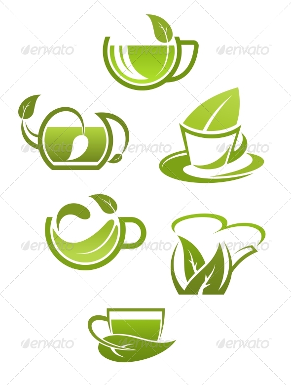 GraphicRiver Herbal Tea Cups with Green Leaves 5640902