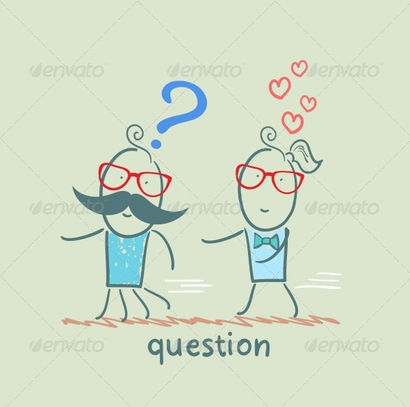 GraphicRiver Man with a Question Mark Running Away from a Girl 5642540