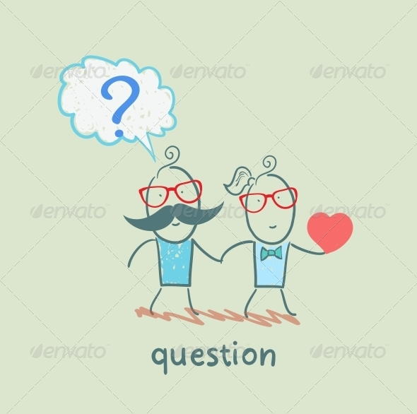GraphicRiver Man with a Question Mark Goes with a Girl with a Heart 5642593