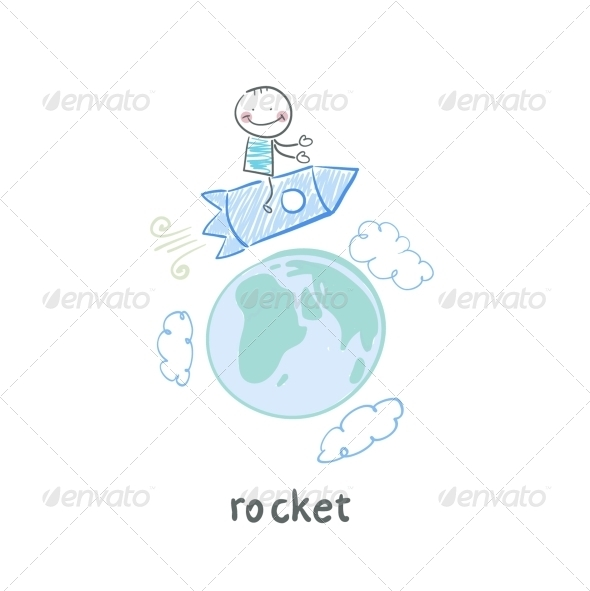 GraphicRiver A Man on a Rocket 5642605