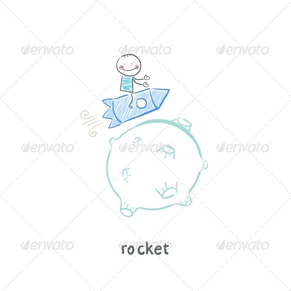 GraphicRiver Man on Rocket 5642613