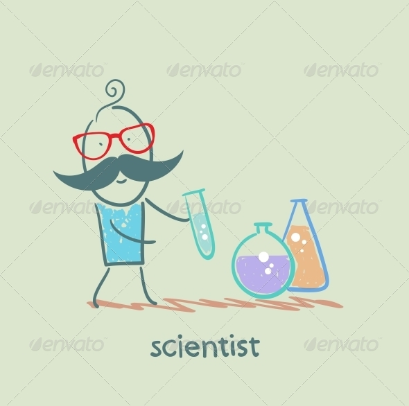 GraphicRiver Scientist with Test Tubes 5642617